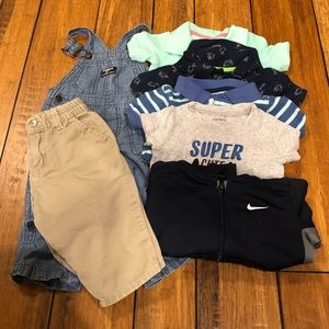 Baby Boy 12 Mnth Lot OshKosh Overalls Nike Carters